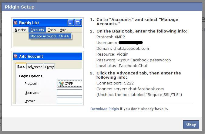 Facebook xmpp chat