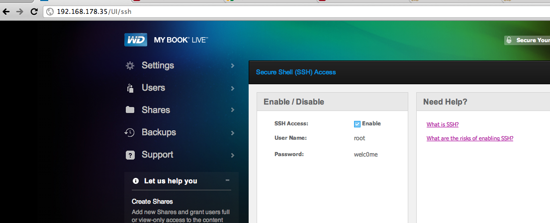 enabling ssh on the mybook